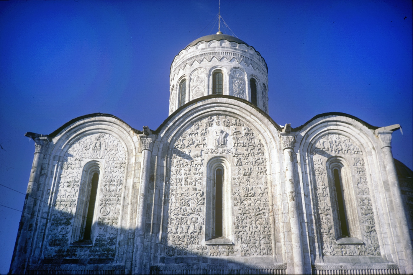 Vladimir. Cathedral of St. Dmitry, south facade, upper tier. March 6, 1972.
