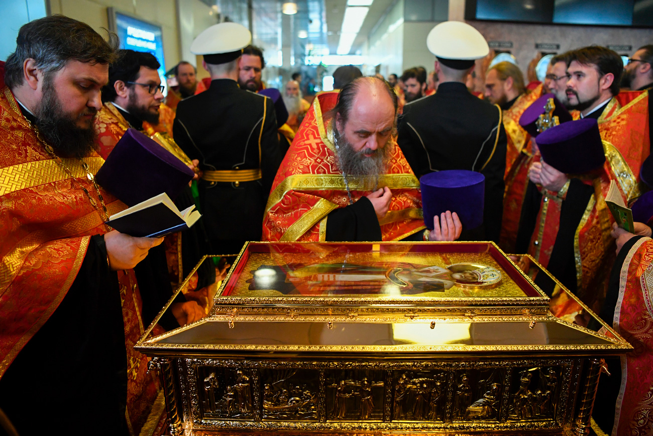 The official ceremony to welcome the ark with Saint Nicholas relics at Moscow's Vnukovo-3 airport. 05/21/2017