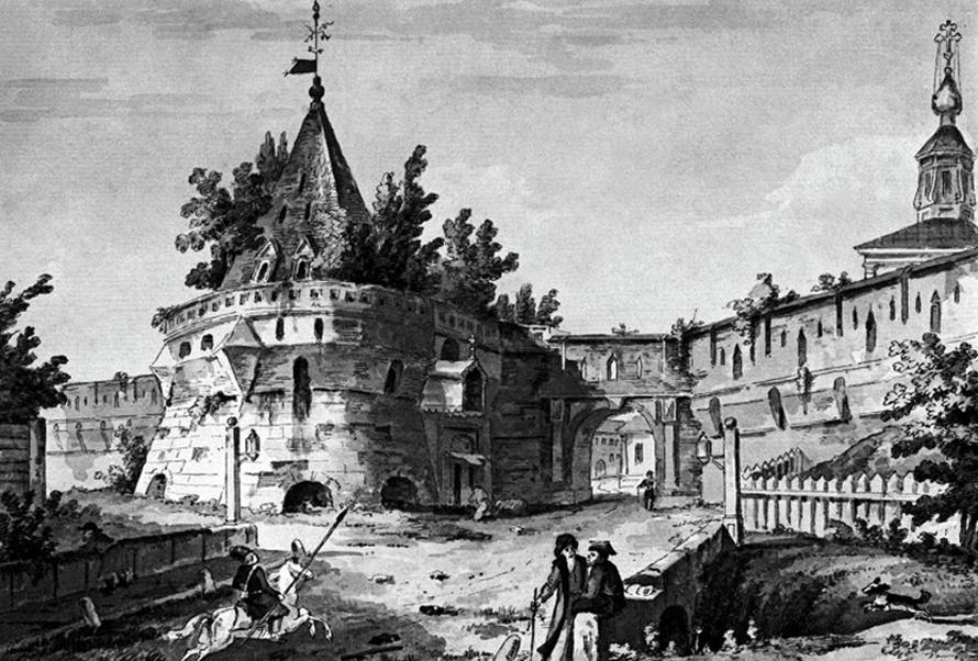 The Varvarskaya Tower of the Kitai-Gorod wall, 1790s./ Source: Mos.ru