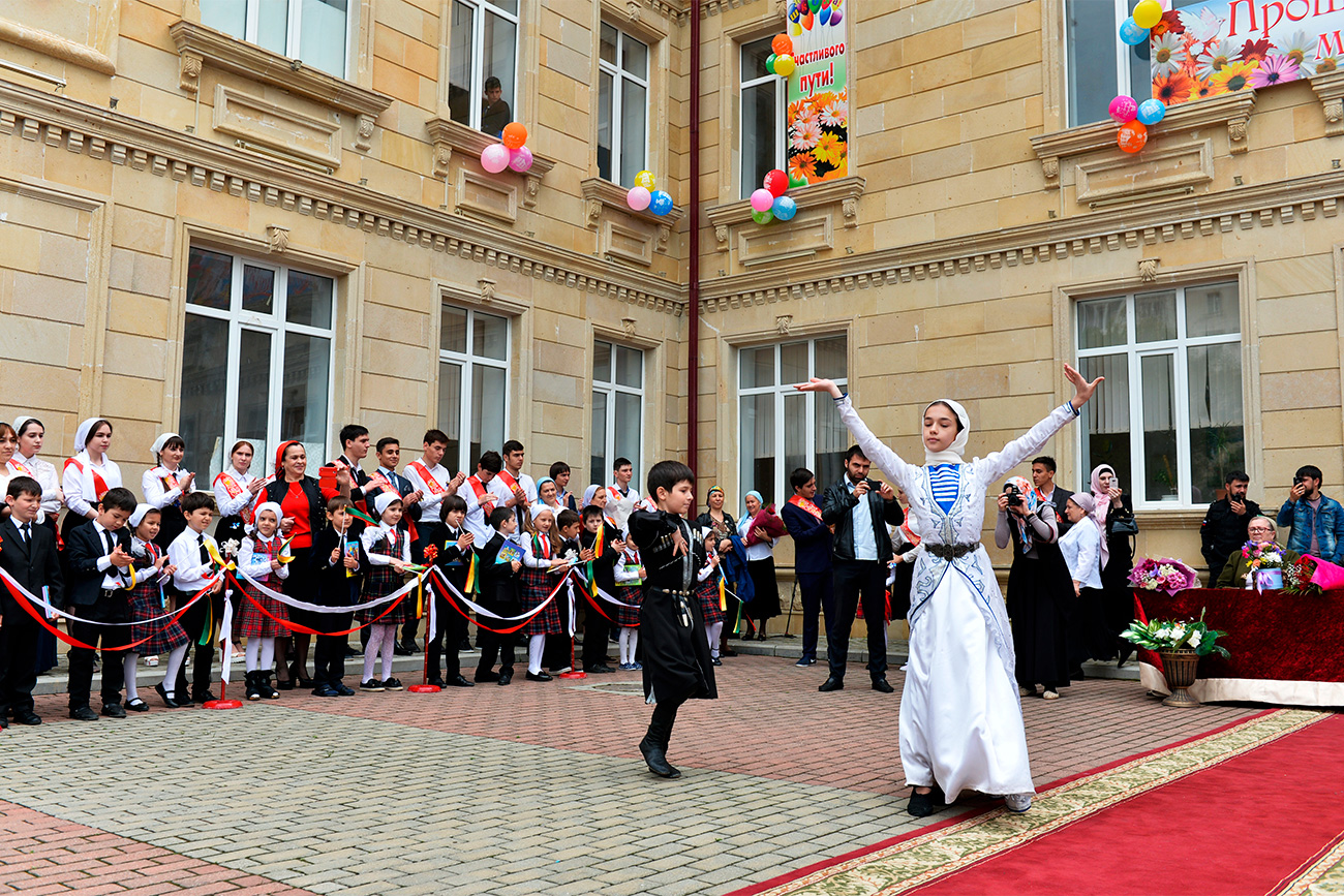 In some Russian schools, the Last Bell is celebrated with national songs and dances, often followed by a party that lasts well into the night.