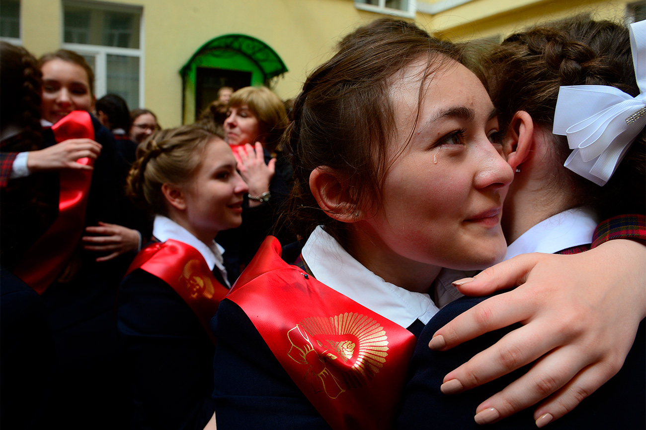 School-leavers may live in the same yard or even the same apartment block, but the poignancy of the moment makes the tears flow as if this is goodbye forever.