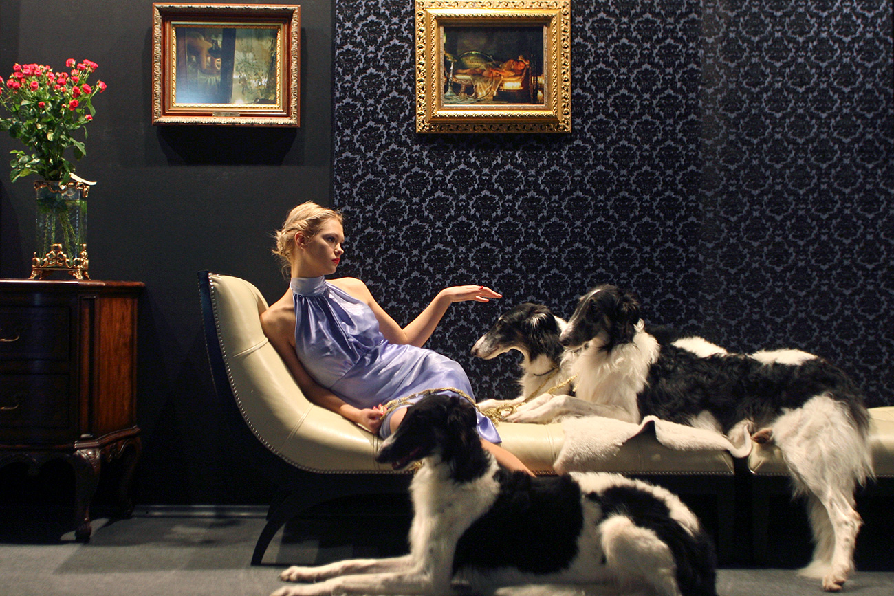 A model presents interior design ideas during the opening night of the Millionaire Fair in Moscow