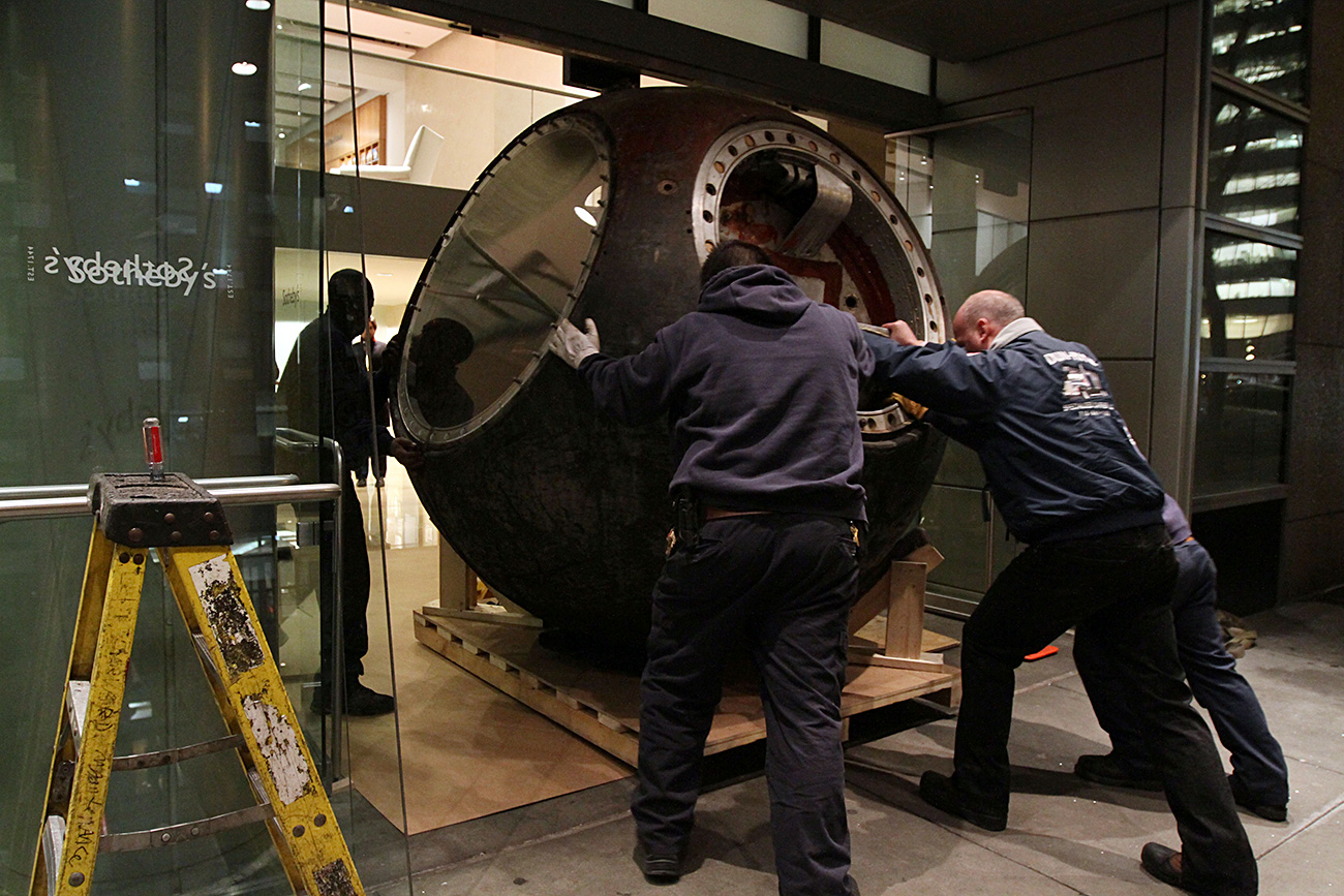 The Vostok 3KA-2 space capsule at Sotheby's in New York. Source: AP