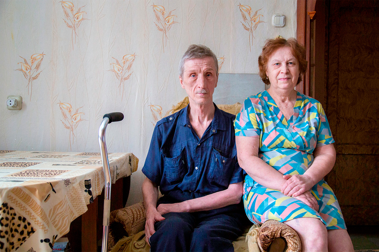 "Lubov Bravaya (65) and Anatoly Bravy (61) met 20 years ago. They had been working together at a plant. ""When I started working here, female colleagues asked me if I had a husband or boyfriend and when I said no, they predicted that I would definitely meet somebody at work. They weren't mistaken. I met Anatoly, who worked at the plant as a security guard,"" says Lubov. After 20 years together, the couple decided to marry officially. It was the first marriage for Lubov and the second time for Anatoly."