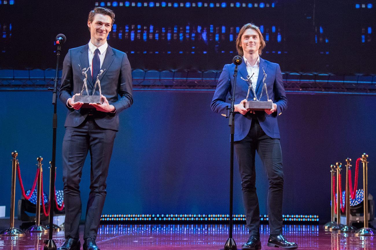 "French dancer Hugo Marchand (Paris Opera Ballet) and Russian dancer Denis Rodkin (The Bolshoi Theater of Russia) both won ""Best Dancer."" Source: Mikhail Logvinov"