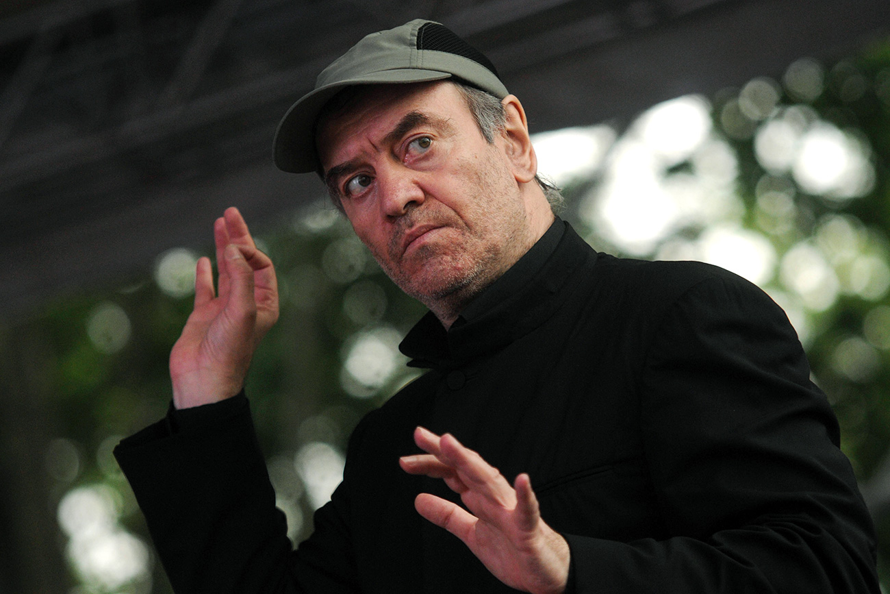"Director Valery Gergiev during the premiere of the opera ""Sadko"", which premiered outside the walls of the Hagia Sophia cathedral."