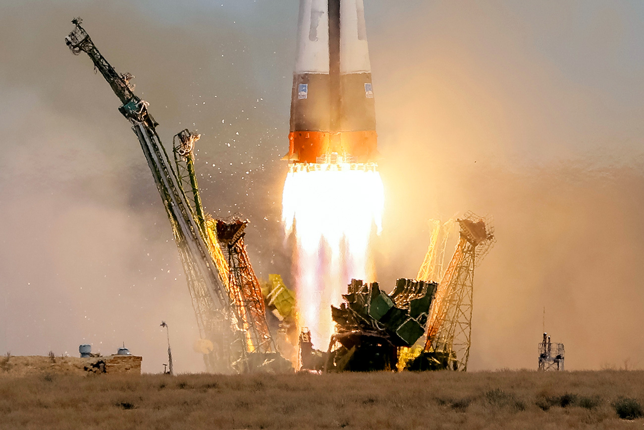The Soyuz MS-04 spacecraft carrying the crew of Jack Fischer of the U.S. and Fyodor Yurchikhin of Russia, blasts off to the International Space Station (ISS) from the launchpad at the Baikonur Cosmodrome, Kazakhstan April 20, 2017