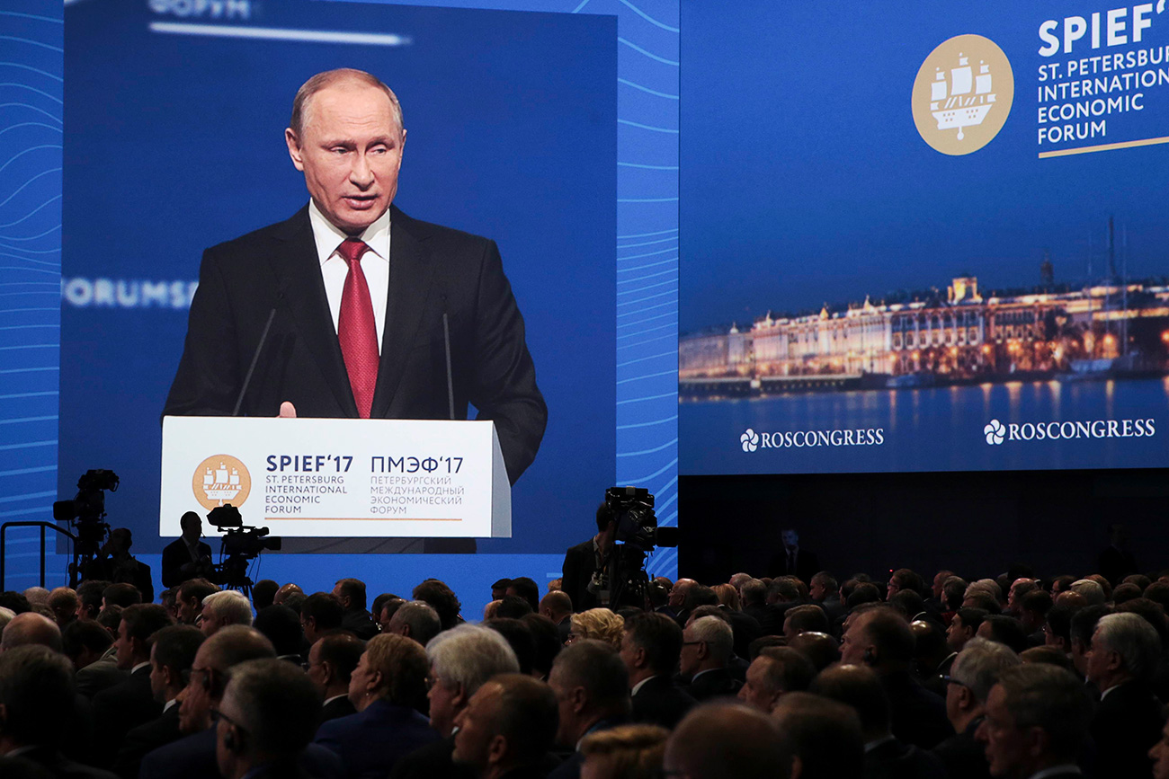Russian President Vladimir Putin delivers a speech during a session of the St. Petersburg International Economic Forum (SPIEF), Russia, June 2, 2017
