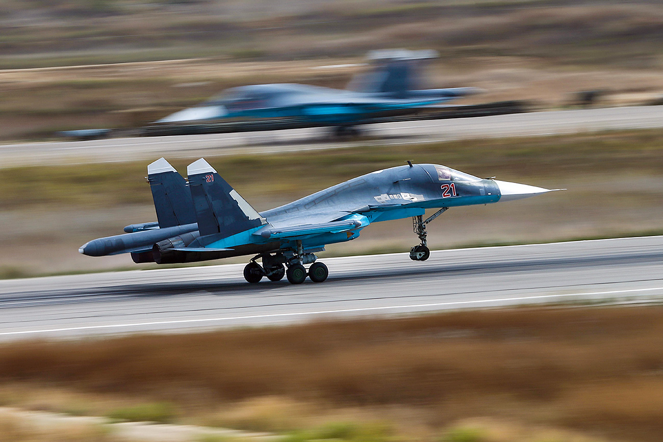"In the Russian army, the Su-34 has been dubbed the ""Duckling"" or the ""Duckbill"" because of the flattened shape of its nosecone. Photo: Sukhoi Su-34 strike fighters."