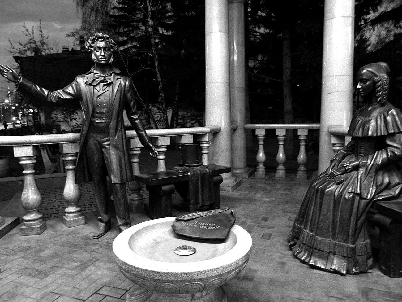 "A monument featuring Alexander Pushkin and his wife Natalia Goncharova in Krasnoyarsk says: ""I still recall the wondrous moment…"" The poem continues:  ""When you appeared before my sight/ As though a brief omen, /Pure phantom in enchanting light."" In truth, it was not to his wife (left) that Pushkin dedicated these verses."