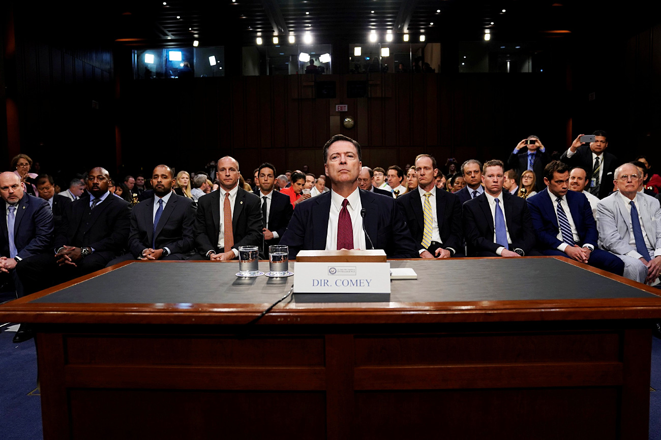 Former FBI Director James Comey testifies before a Senate Intelligence Committee hearing on Russia's alleged interference in the 2016 U.S. presidential election on Capitol Hill in Washington, U.S., June 8, 2017