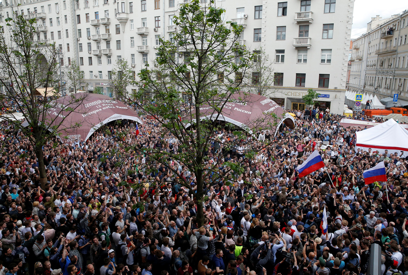Антикорупционни протести, организирани от опозиционера Алексей Навални на 12 юни в Москва.
