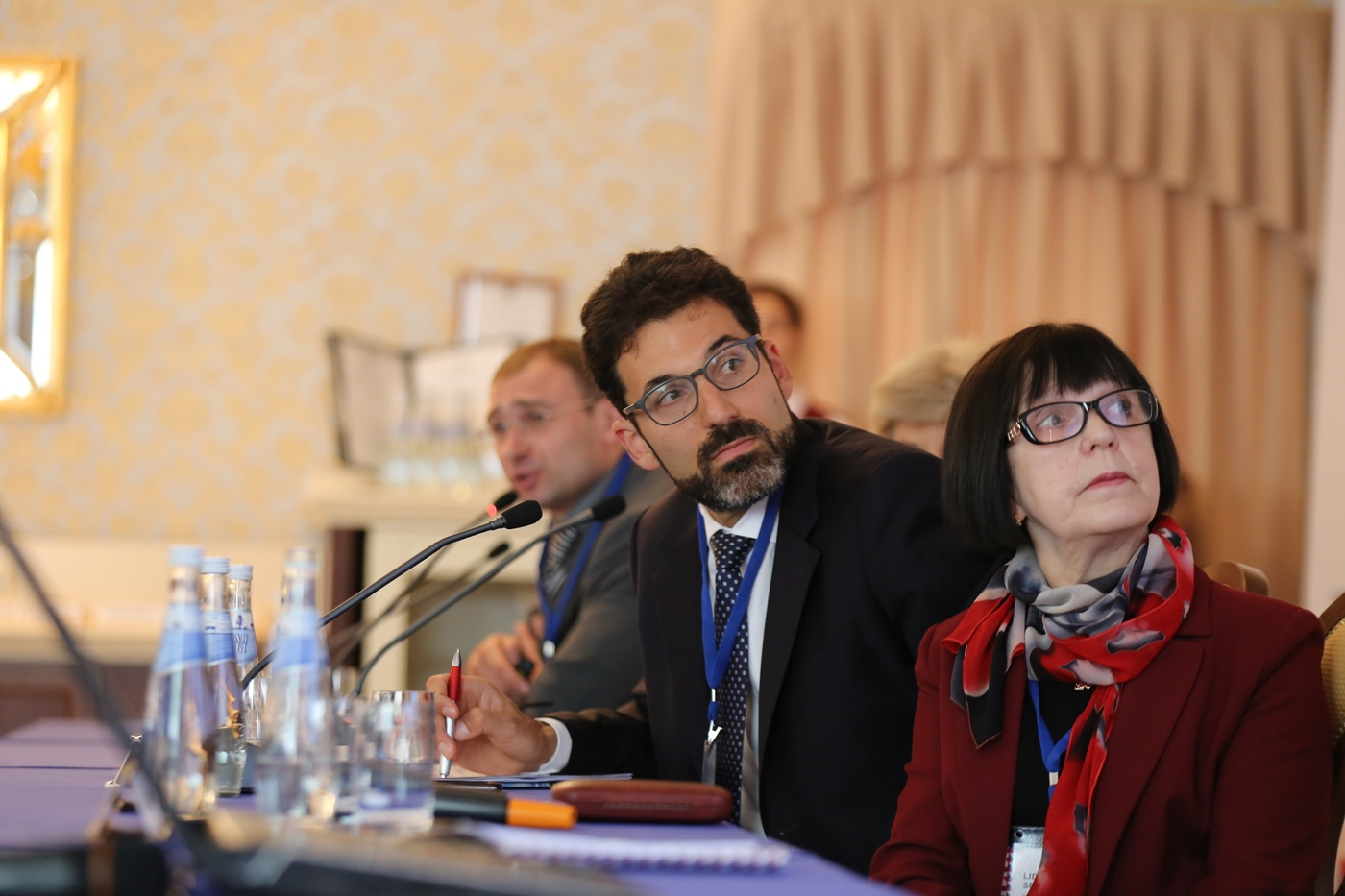 """Session: """"Russian America and trailblazing as a resource for development of museums and museum brands."""" Moderated by Matthew Rozanski, director of the Kennan Institute. On the right: Lidia Sevastyanova, director of the Kargopol State Museum of History, Architecture, and Art.\n"""