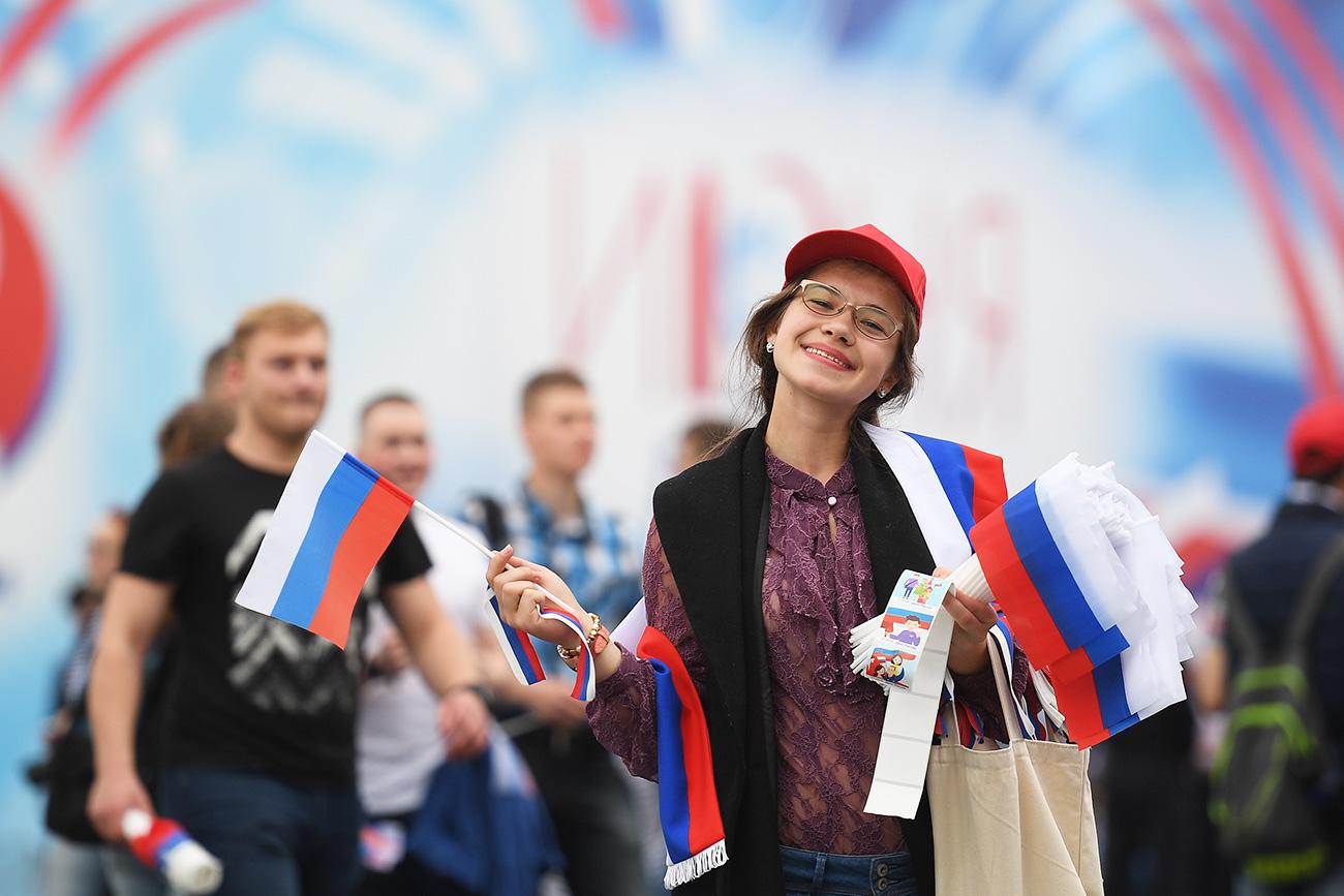 Prizor s ponedeljkovega praznovanja Dneva Rusije na moskovskem Rdečem trgu.