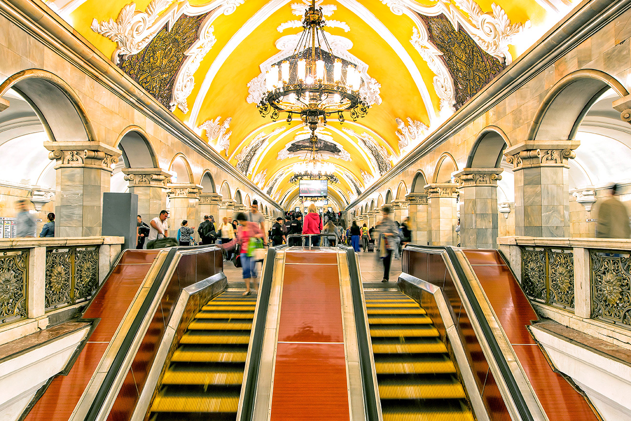 "Komsomolskaya station was constructed to act as a type of ""gateway"" to Moscow."