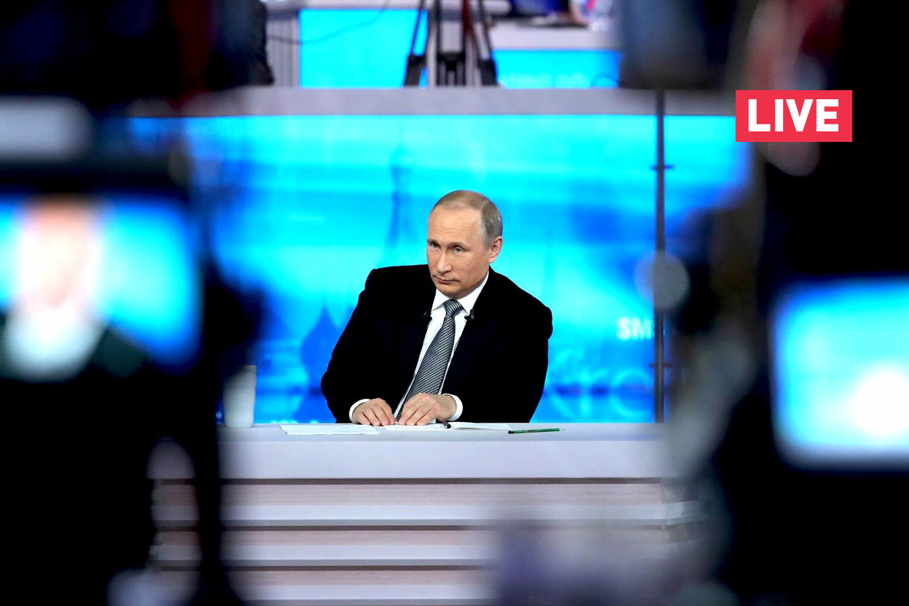 Russian President Vladimir Putin answers the questions during the annual Direct Line.