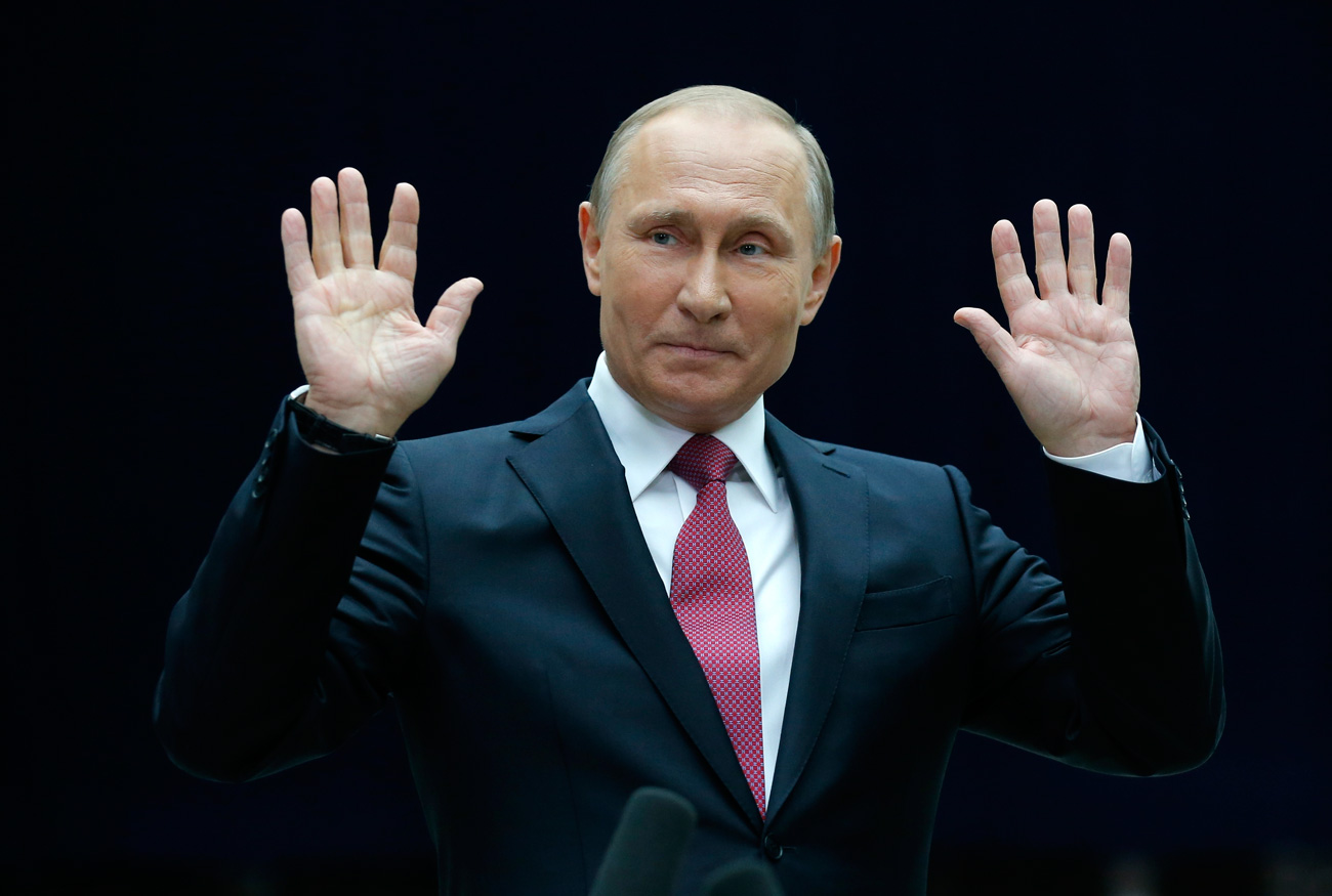 Russian President Vladimir Putin gestures speaking to the media after his annual live call-in show in Moscow, Russia, Thursday, June 15, 2017. President Vladimir Putin said Russia will pour resources into the development of its vast Arctic region for both economic and military reasons.