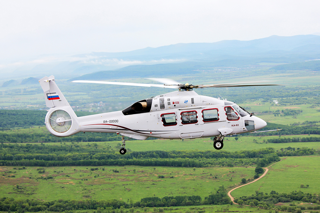 The Ka-62 helicopter on its first test flight.