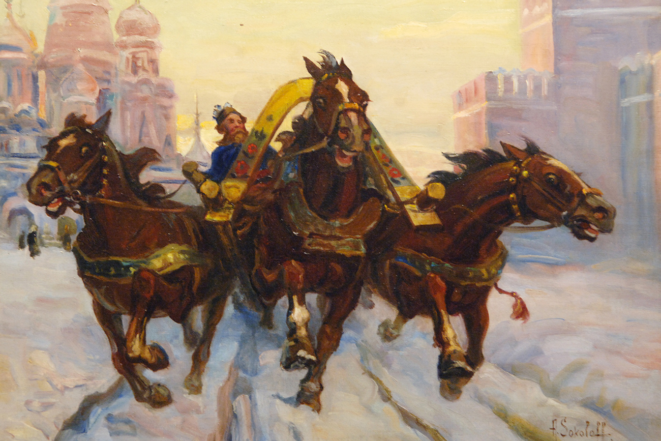 Alexander Sokolov 'By Troika on Red Square. Old Rus,' 1960. 23rd Russian Antique Salon in the Central House of Artists in Moscow.