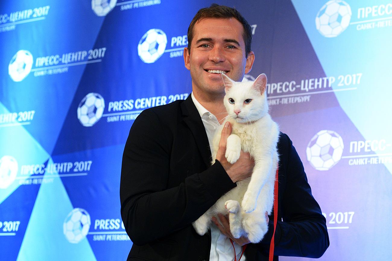 Aquiles, um gato branco e surdo que mora no Hermitage, será o vidente da Copa das Confederações 2017