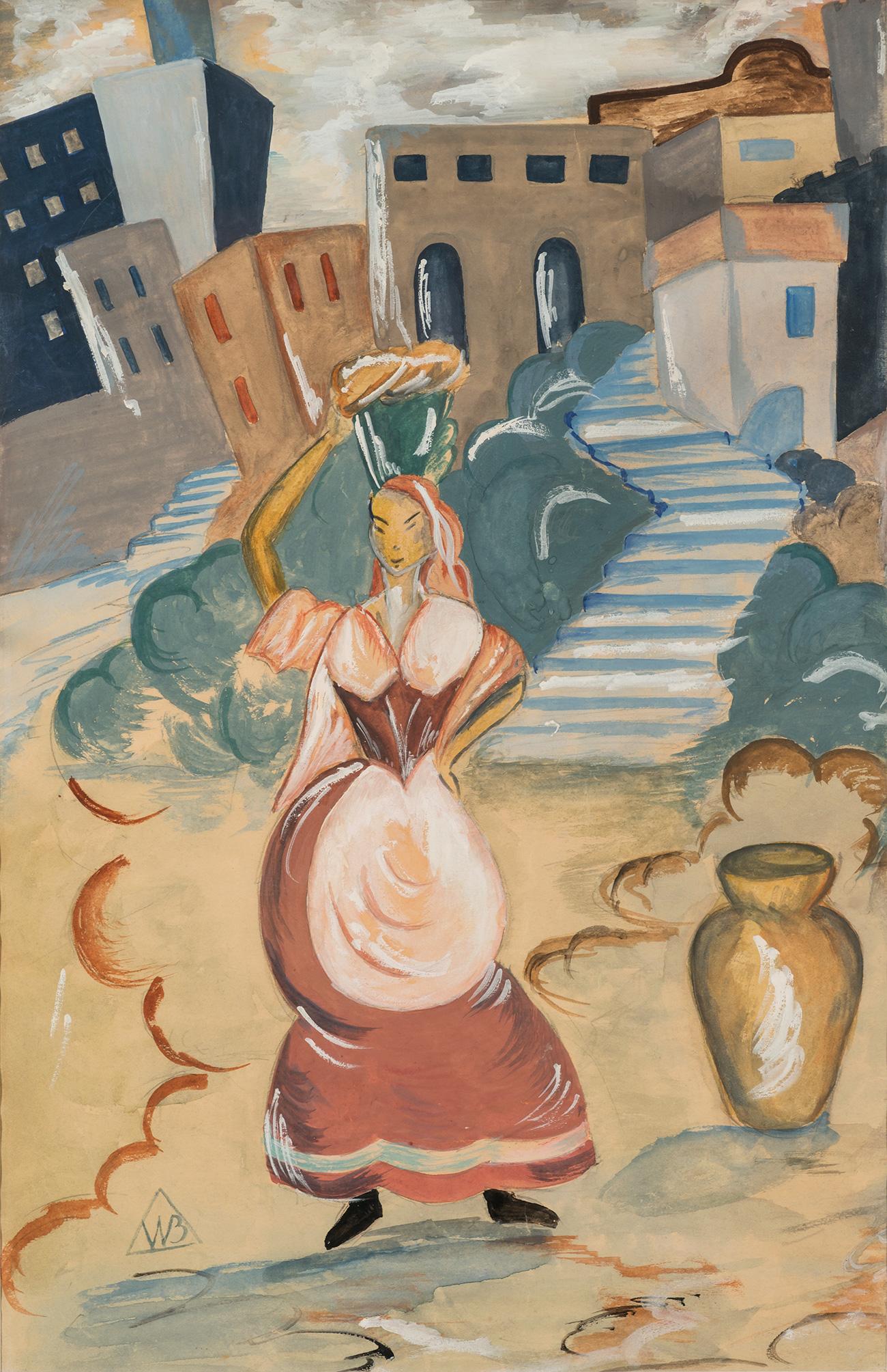 Vladimir Bechteyev.  Landscape with female figure. / Press Photo