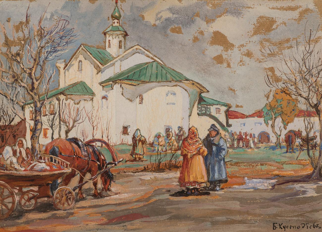 Классическая живопись Кустодиев Борис_У церкви_1918