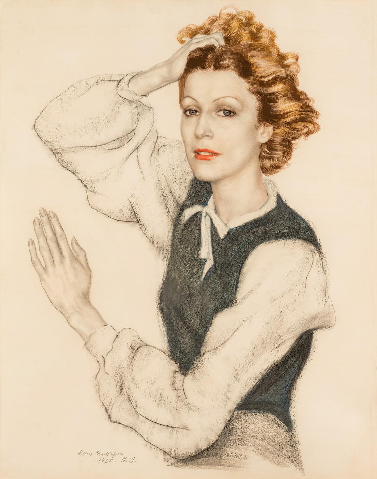Boris Chaliapin. Portrait of Maria Chaliapina-Karpylovskaya,1935. / Press Photo