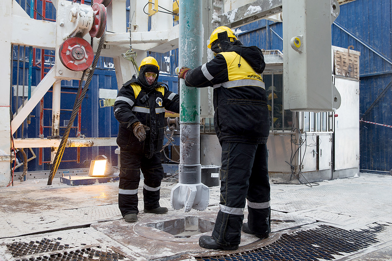 Personnel of Rosneft oil giant during the launch of drilling of the Tsentralno-Olginskaya 1 well, the northernmost well on the Russian Arctic shelf. The work is conducted under the offshore area of the Laptev Sea at the Khatangsky license area.