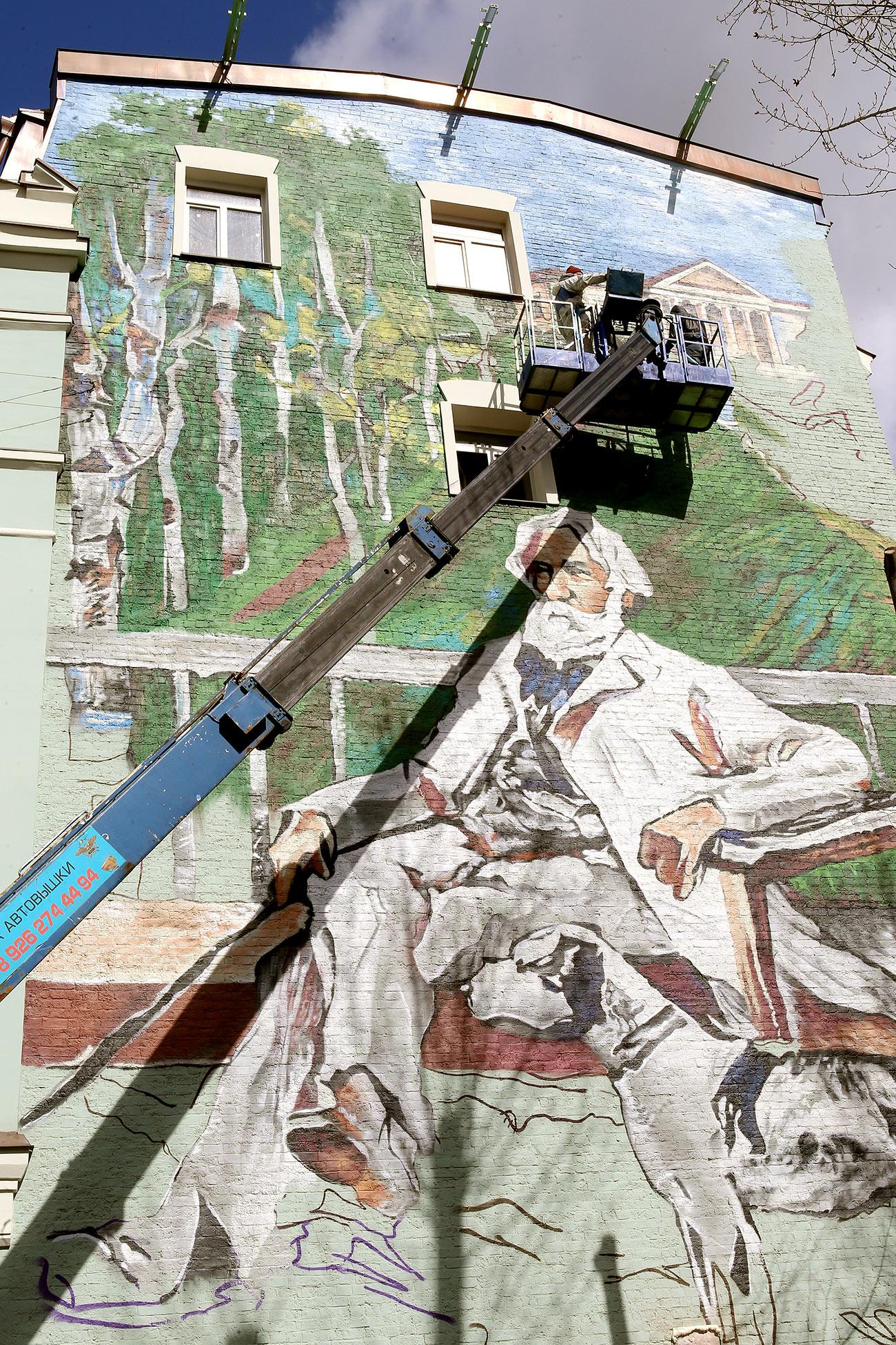 Graffiti-portrait of Ivan Turgenev on the wall of 37/7 Ostozhenka Street, Moscow. Source: Vitaliy Belousov/RIA Novosti