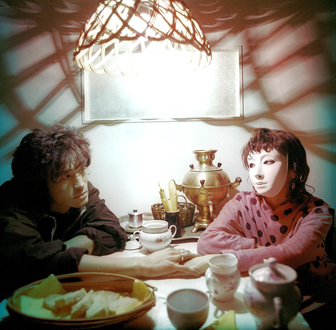 "Movie ""The Needle"" directed by Rashid Nugmanov. Kazakhfilm. 1988. USSR. In the picture: Viktor Tsoy and Marina Smirnova"