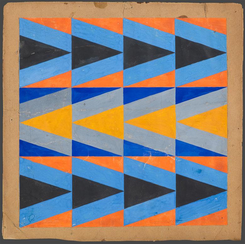 Boceto de tejido con ornamentos triangulares de colores, 1923-24. Fuente: Galería Tretiakov
