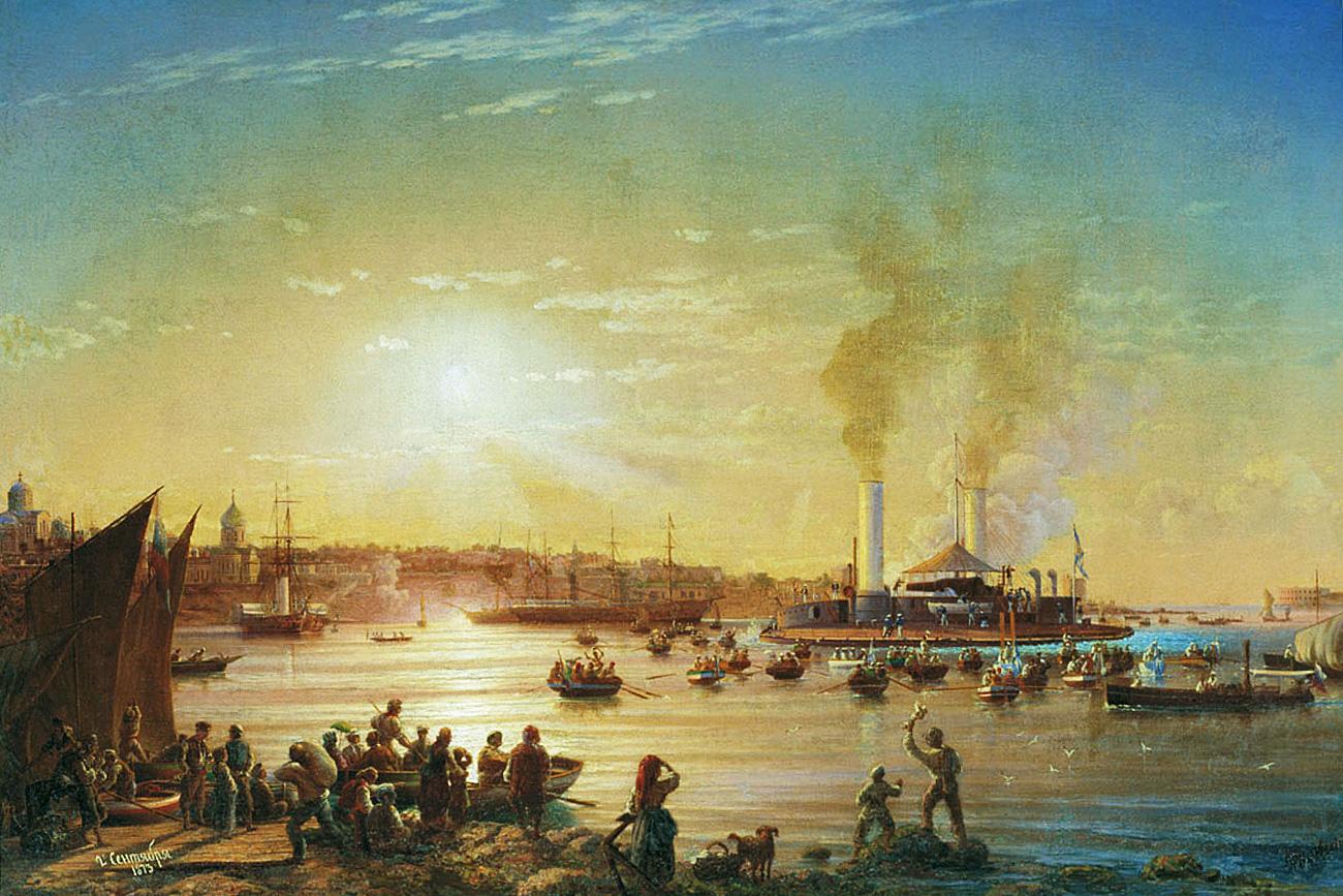 """""""Пристигане на """"поповка"""" """"Новгород"""" в Севастопол"""" (Худ. Н. П. Красовски, 1873 г.)."""