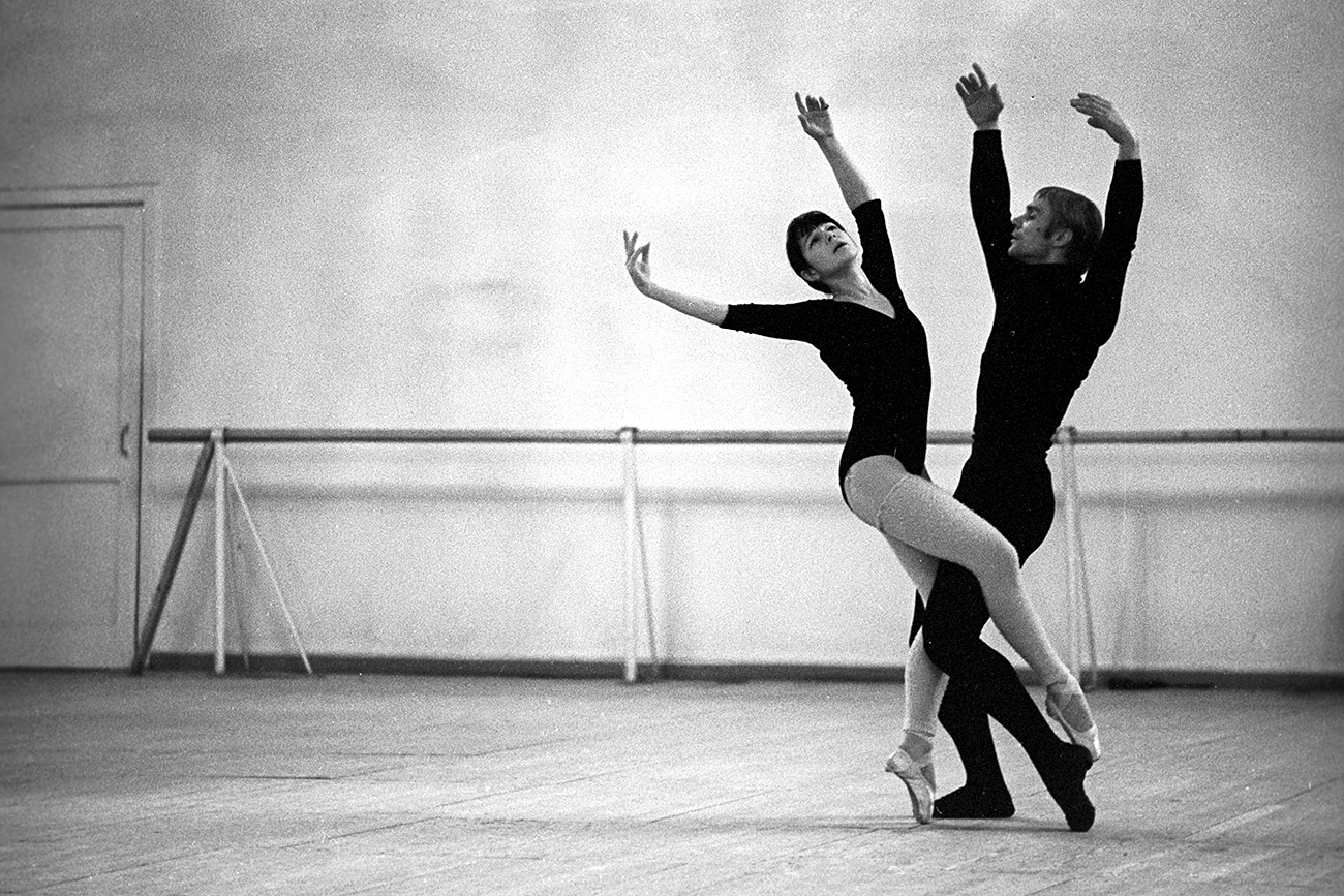 "Bolshoi Ballet dancers Yekaterina Maximova and Vladimir Vasilyev rehearsing ""Icarus"", a 1971 ballet by the contemporary Russian composer Sergei Slonimsky"
