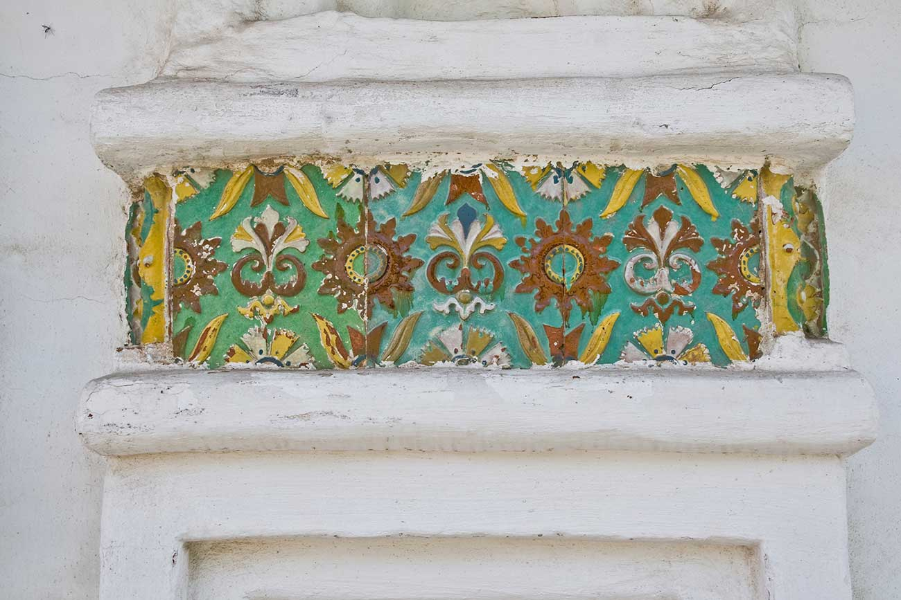 Convent of Deposition of the Robe. Cathedral, ceramic tiles on west facade. May 29, 2009.  / William Brumfield