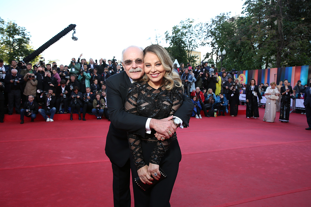 Italian actress and jury member Ornella Muti and President of the Moscow International Film Festival, director Nikita Mikhalkov at the opening ceremony.