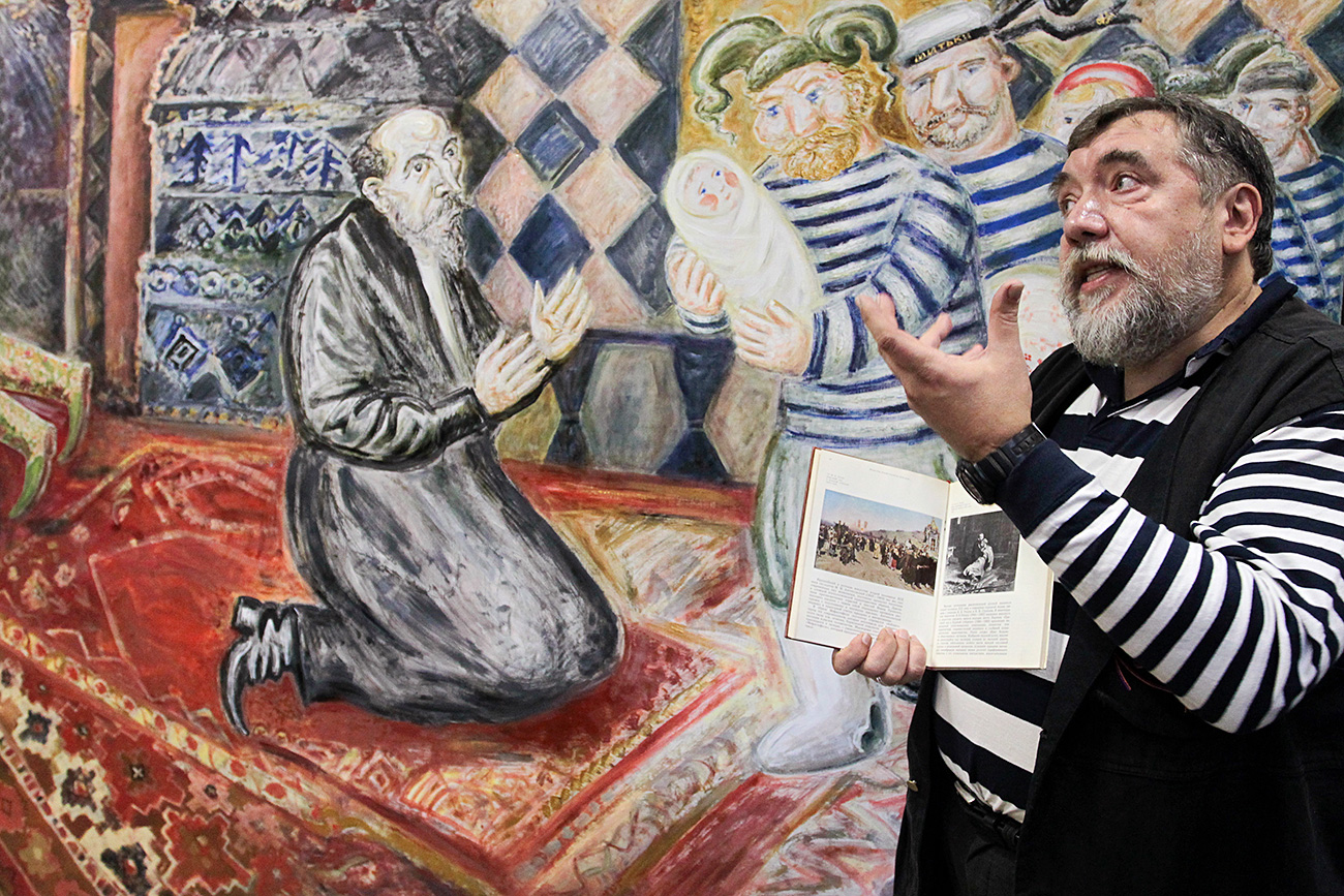 "Dmitry Shagin and ""Mitki Bring New Son to Ivan the Terrible"" painting, at the Mitki-Art art center in St. Petersburg."