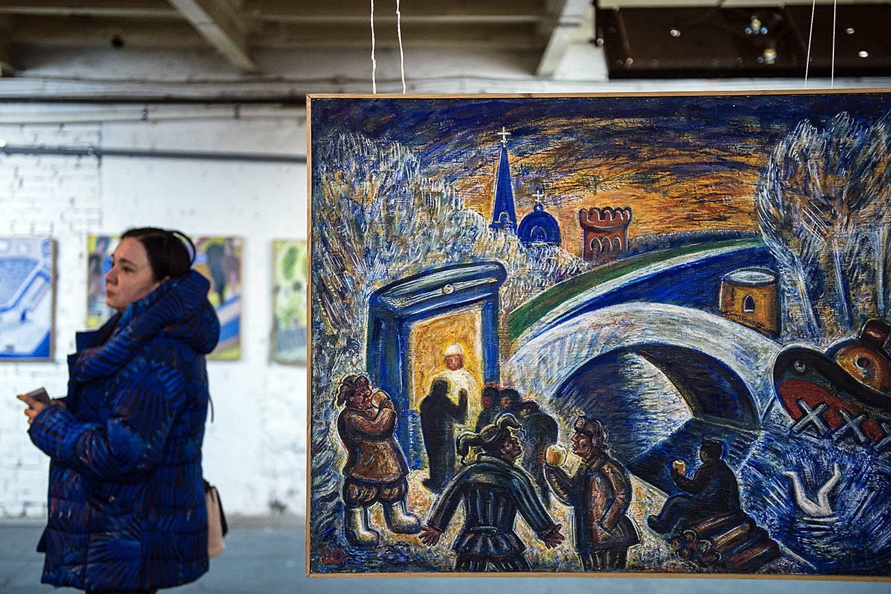'The Fall of Icarus' painting at the exhibition in Moscow. Source: Evgenya Novozhenina/RIA Novosti