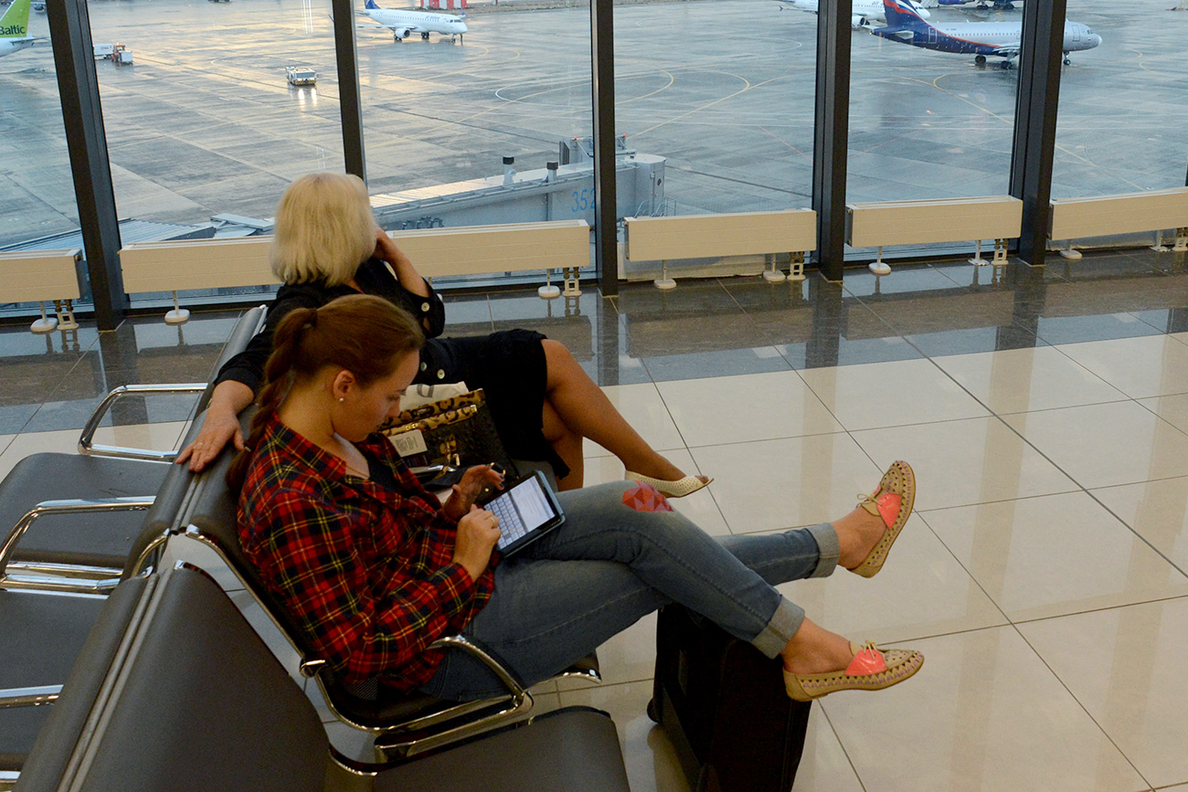 Passengers at the Sheremetyevo airport in Moscow.