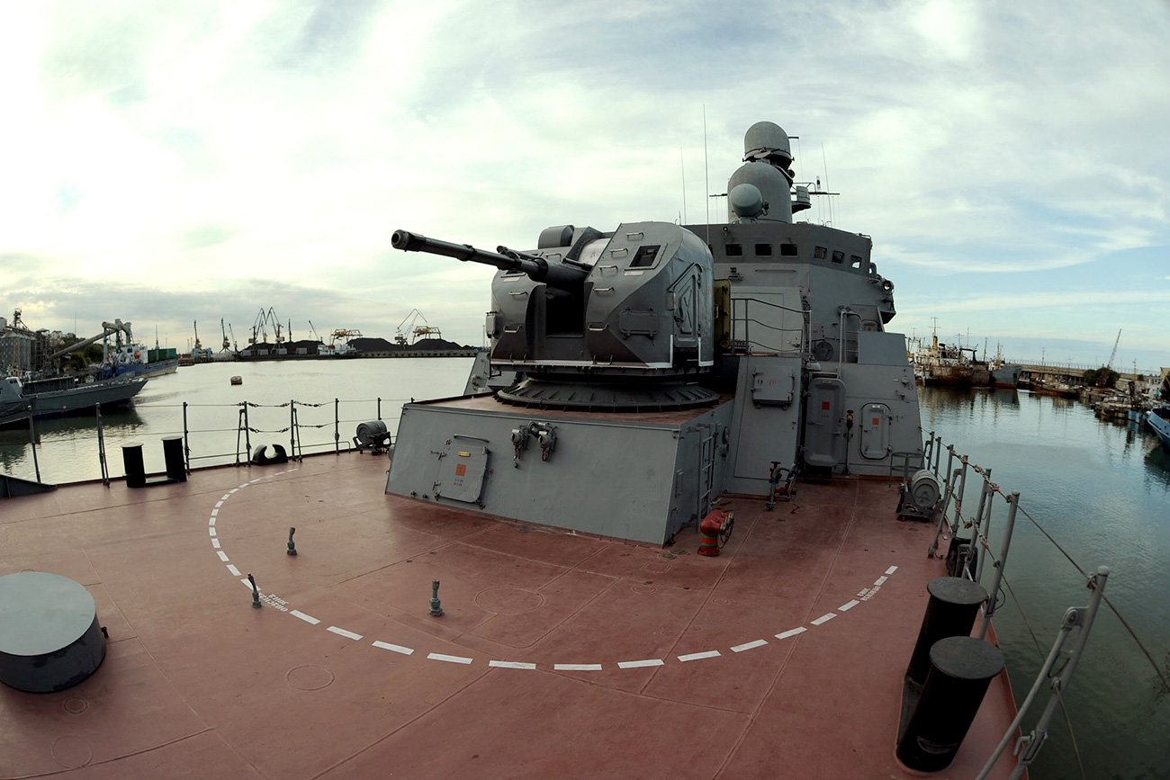 The latest Russian Navy missile frigate Dagestan at the port of Makhachkala.