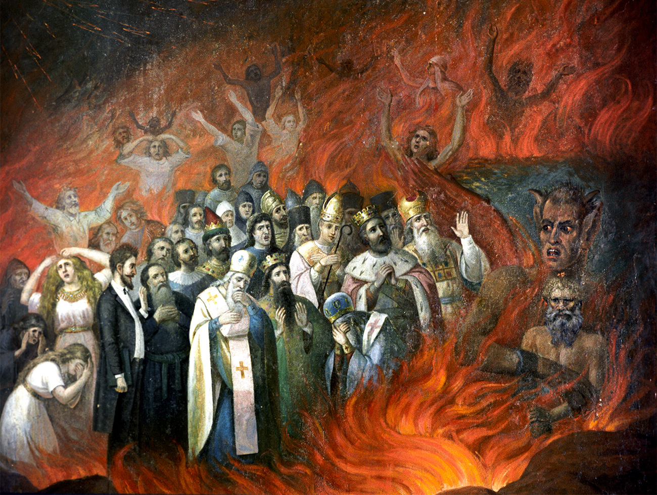 'Leo Tolstoy in Hell' Fragment of the fresco 'The Omen' by church artist M. Andryushin, 1883. The Museum of Religion and Atheism History of the Academy of Sciences of the USSR. Leningrad (St. Petersburg currently). Source: Balabanov/RIA Novosti