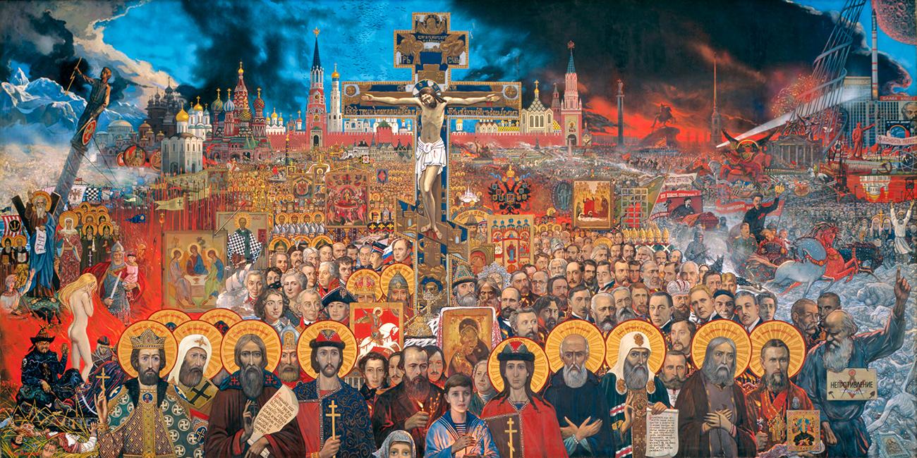 Аутор је преко 3000 уметничких дела, био је оснивач и ректор ,,Академије за сликараство, вајарство и архитектуру'', а 1980. добио је звање Народног уметника СССР-а. Био је такође лауреат бројних руских и иностраних признања.(Слика: Вечна Русија, 1988. година)