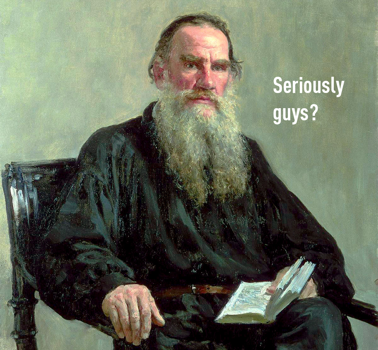Portrait of Leo Tolstoy, 1887. Source: State Tretyakov Gallery, collage