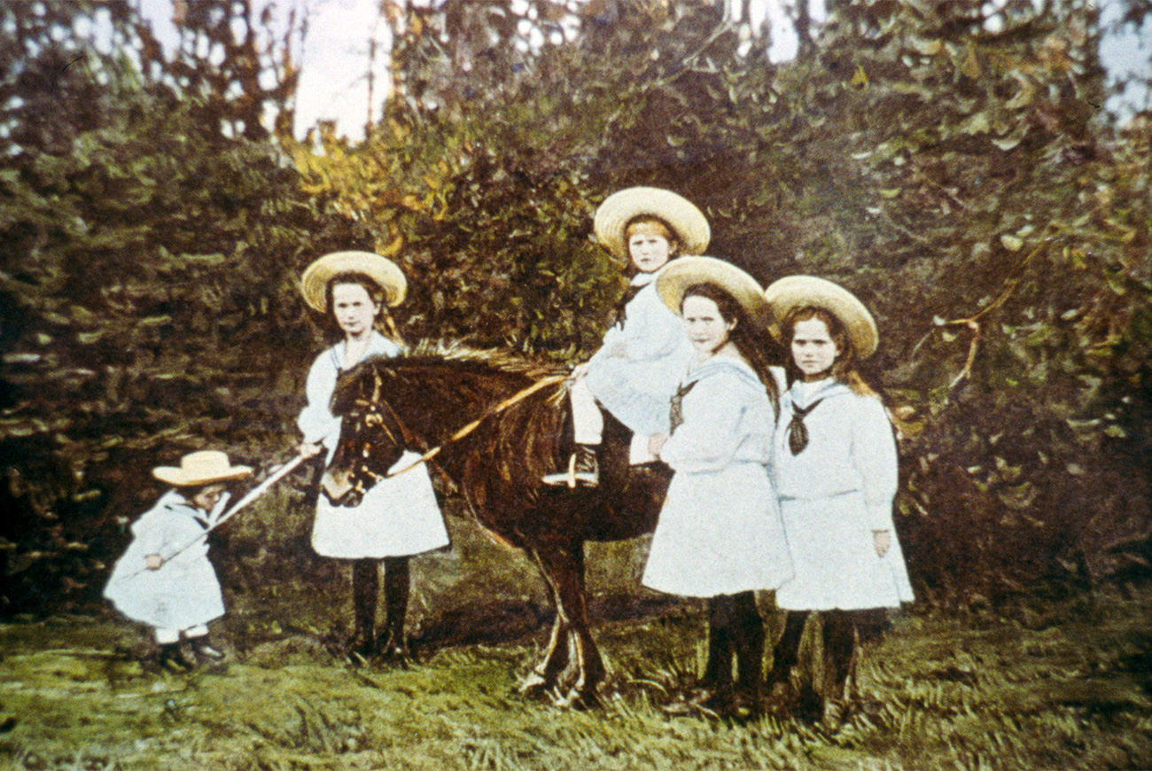 UNDATED: Children of Tsar Nicholas II. The series of the unique pictures were taken by the Tsar Nicholas II himself or people close to the royal family. They were realized in 1915-1916, the most terrible years of World War I. Nicholas II was an insatiable photographer. He took special care of pictures, filed them with care in numerous albums. He passed down his love for photography to Maria, his third daughter, who is responsible for colouring most of the pictures.