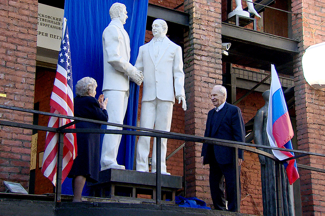 Gorbachev and Reagan sculpture unveiled in Moscow.