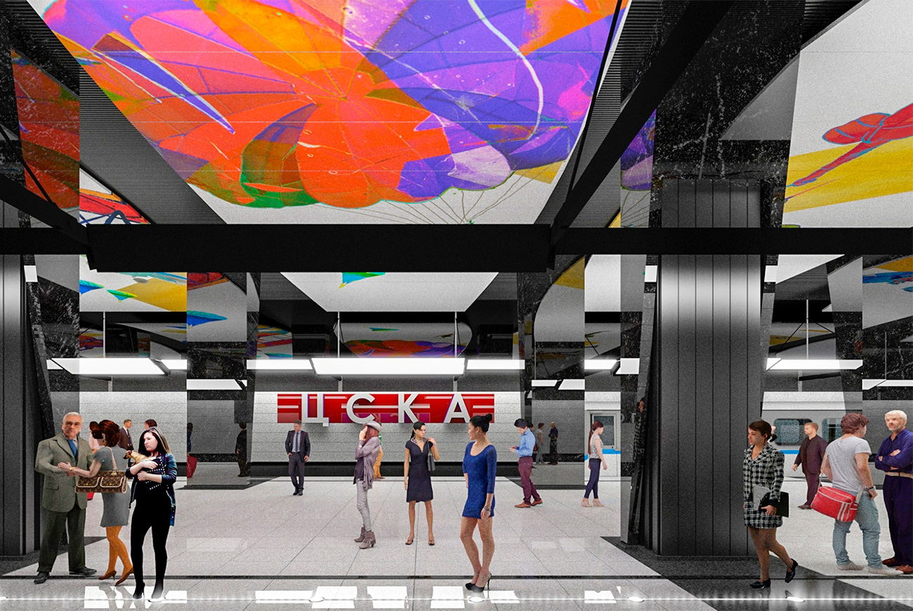 "A new station will also open on the territory of the Khodynskoye Pole park in the north of Moscow. It will provide direct access to the nearby Megasport Arena, one of the largest sports venues in Moscow. The future CSKA station will naturally have a ""sporty"" look and allow 120,000 people to commute there daily."