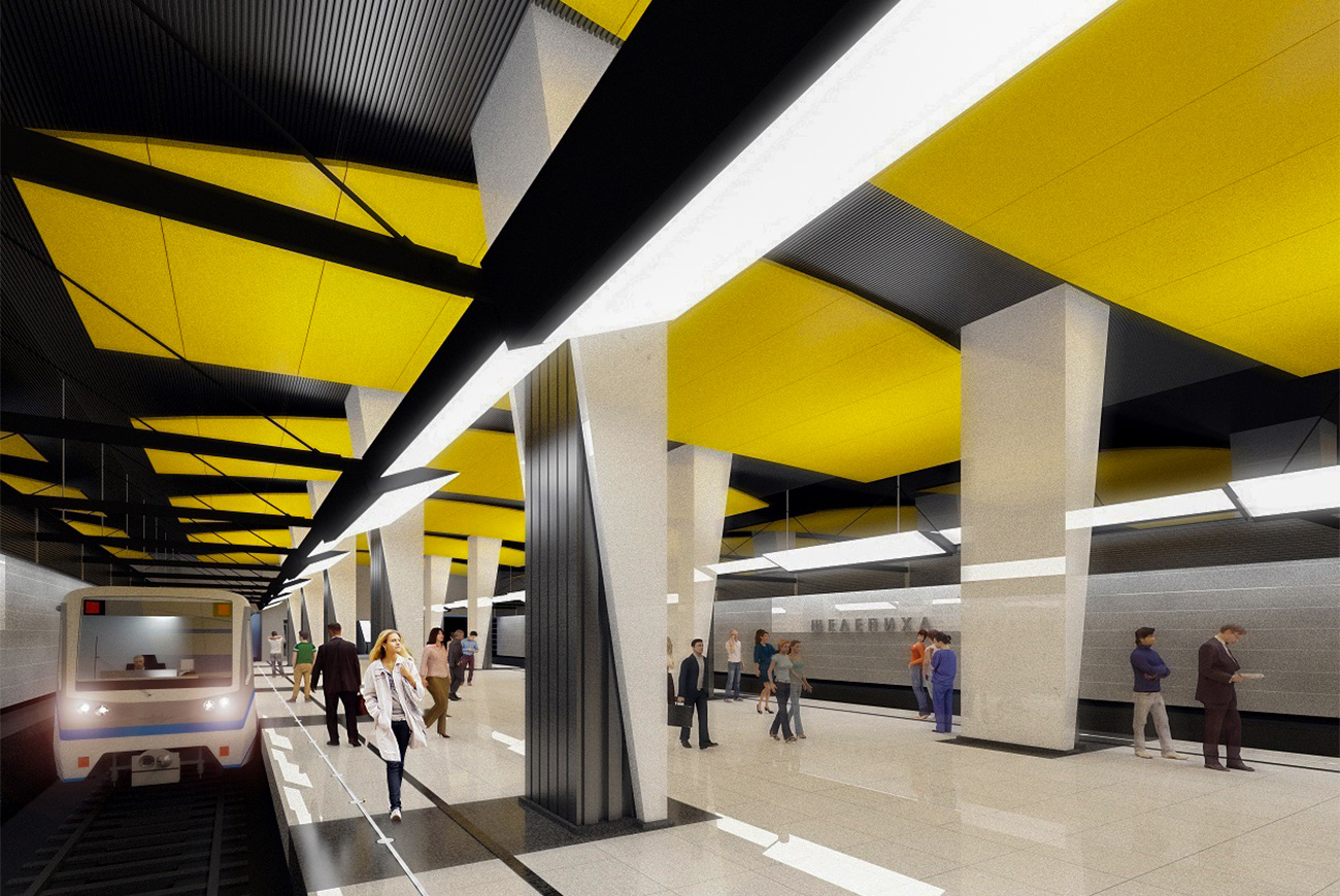 The new Shelepikha station in the west of Moscow will have a throughput capacity of 13,000 passengers per hour, and will be decorated with white and yellow marble. The station will be a part of the new line connecting Dinamo and Delovoy Tsentr stations.