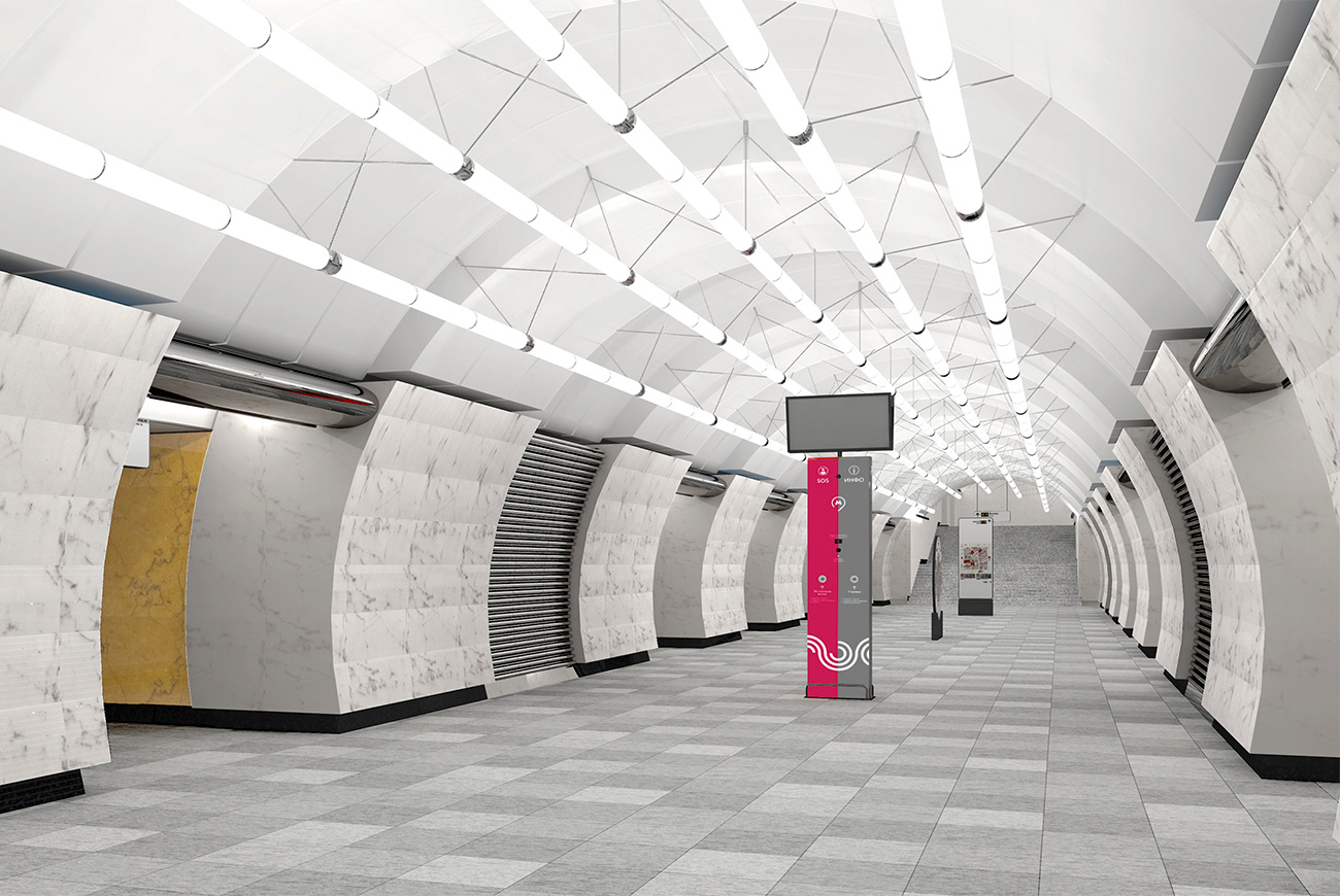 Okruzhnaya station on the lime Lyublinsko-Dmitrovskaya line is planned to open by the end of the year and is aimed at lowering the traffic on Dmitrovskoye Shosse in the north of Moscow. It will be decorated with marble and granite in the style of the Savelovskaya railway that runs nearby.