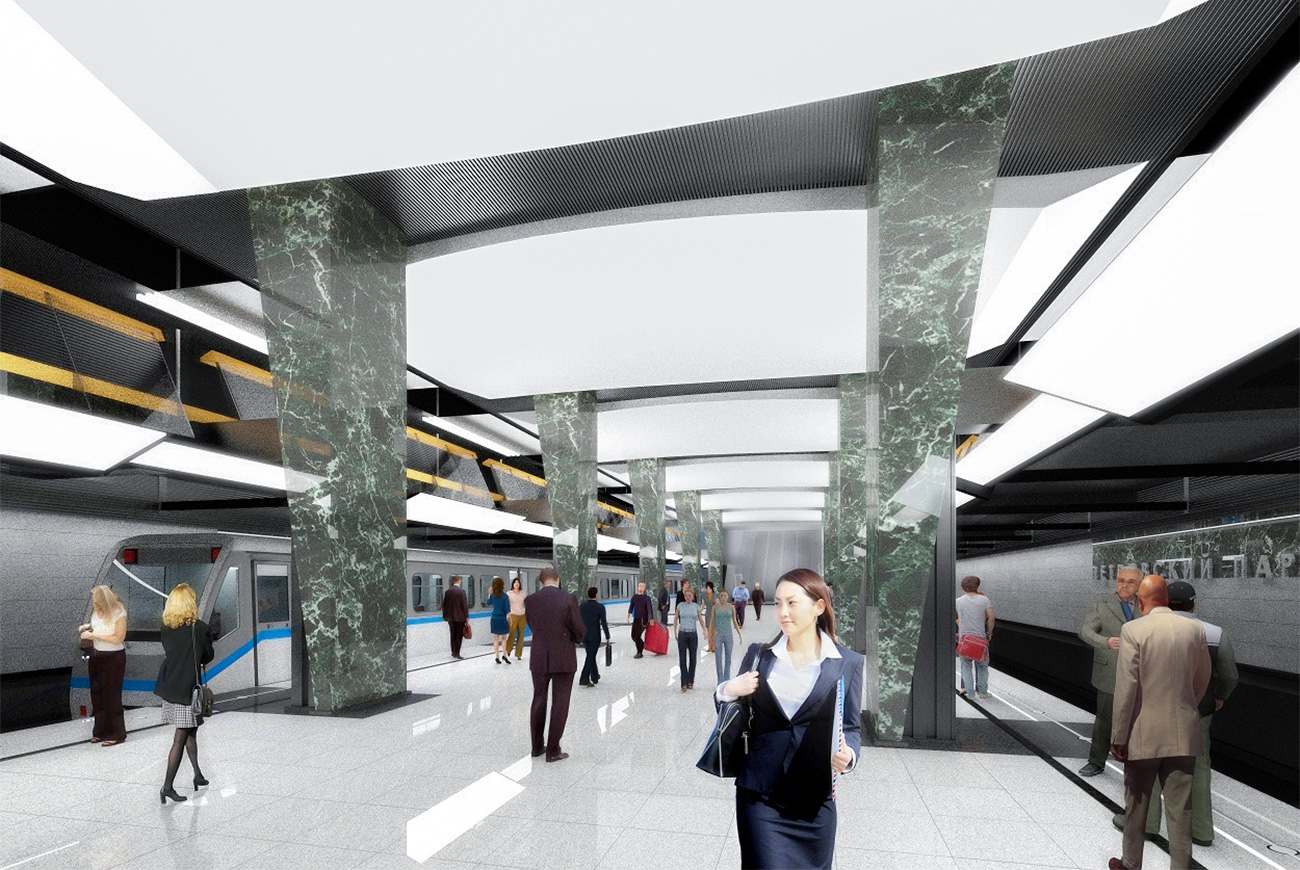 A new station will open near Dinamo station, which currently struggles to cope with the passenger traffic. The future Petrovsky Park station will allow more than 245,000 people to commute daily and is set to become part of a new line from here to Delovoy Tsentr. The future station will be decorated with gray and black granite and white and green marble from the Urals.