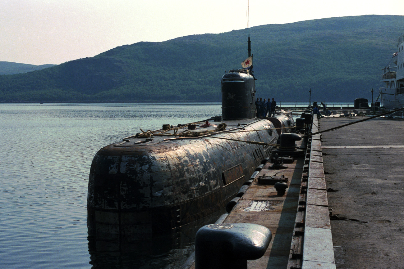 USSR. June 28, 1989. Nuclear submarine after an accident on the main power plant at the harbour\'s berth.