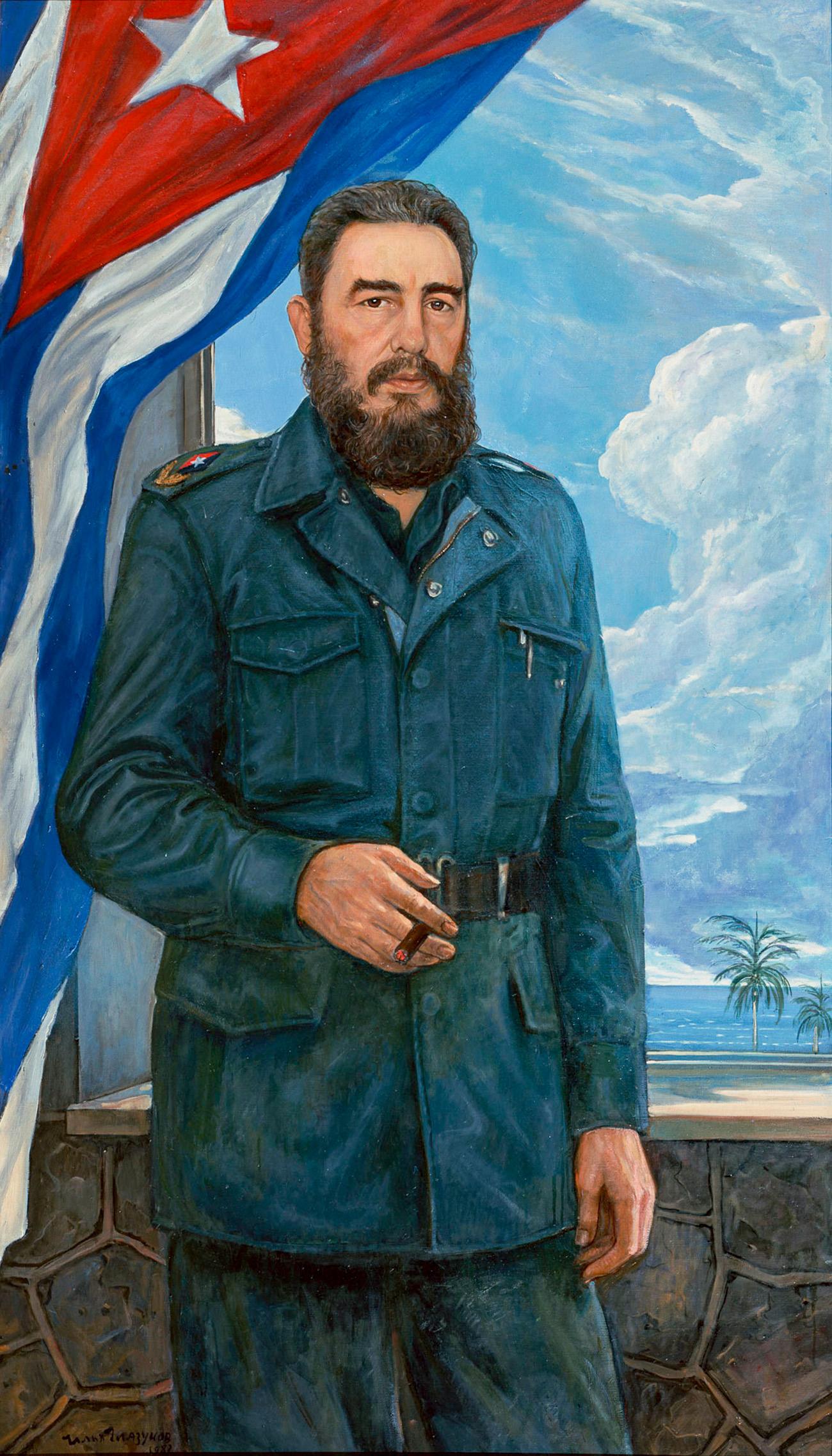 Сликао је такође многе истакнуте совјетске и социјалистичке лидере, почев ид вође кубанске револуције Фидела Кастра... (Слика: Фидел Кастро, 1983. година)